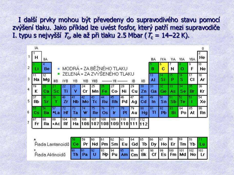 I další prvky mohou být převedeny do supravodivého stavu pomocí zvýšení tlaku. Jako příklad lze uvést fosfor, který patří mezi supravodiče I. typu s n