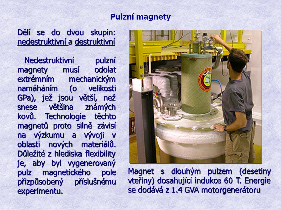 Pulzní magnety Dělí se do dvou skupin: nedestruktivní a destruktivní Nedestruktivní pulzní magnety musí odolat extrémním mechanickým namáháním (o veli