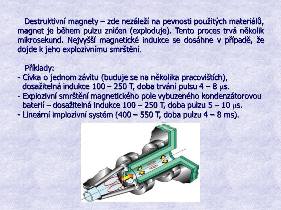 Destruktivní magnety – zde nezáleží na pevnosti použitých materiálů, magnet je během pulzu zničen (exploduje). Tento proces trvá několik mikrosekund.