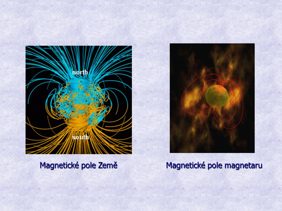 Magnetické pole Země Magnetické pole magnetaru Magnetické pole Země Magnetické pole magnetaru