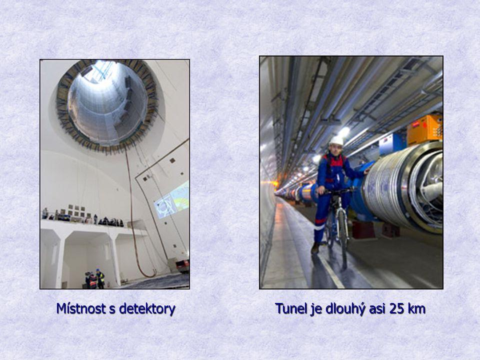 Tunel je dlouhý asi 25 km Místnost s detektory