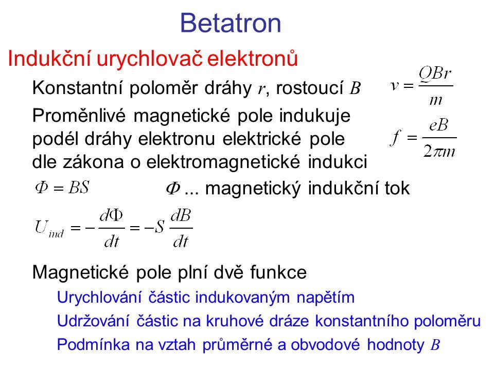 Betatron Indukční urychlovač elektronů Konstantní poloměr dráhy r, rostoucí B Proměnlivé magnetické pole indukuje podél dráhy elektronu elektrické pol