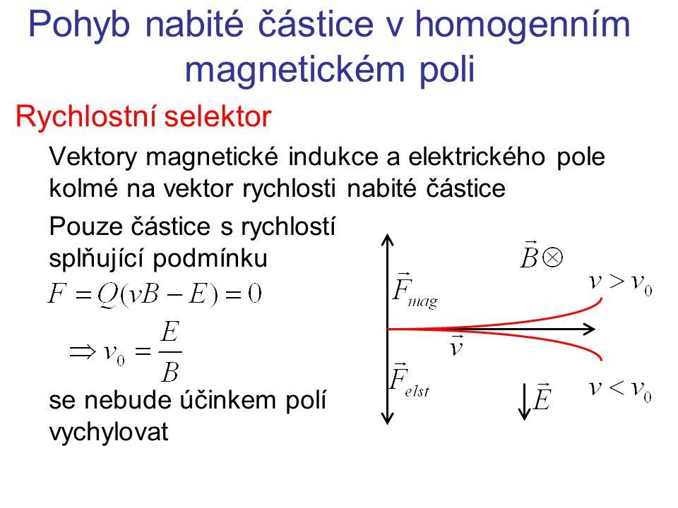 Pohyb nabité částice v homogenním magnetickém poli Vletí-li nabitá částice do magnetického pole kolmo na směr magnetické indukce, začne kroužit po uzavřené trajektorii Využito v cyklických urychlovačích Magnetická síla působí jako síla dostředivá