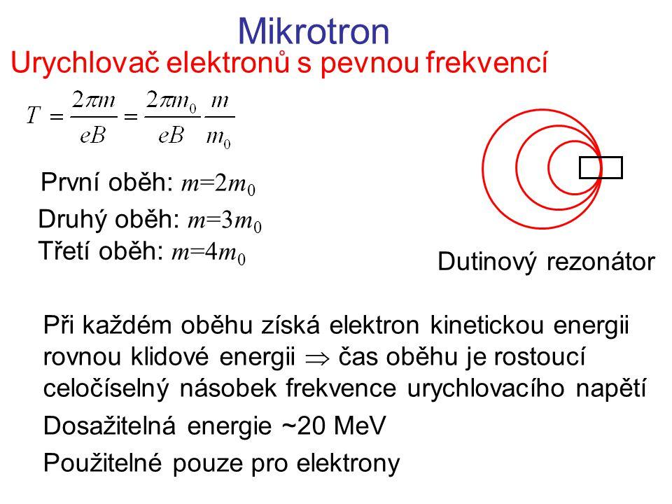 Mikrotron Urychlovač elektronů s pevnou frekvencí První oběh: m=2m 0 Druhý oběh: m=3m 0 Třetí oběh: m=4m 0 Dutinový rezonátor Při každém oběhu získá e