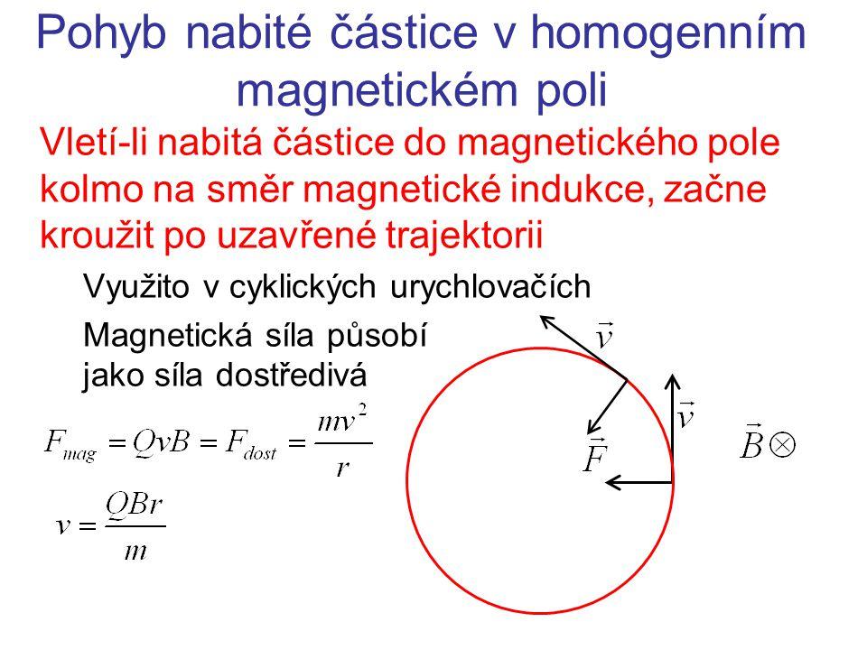 Pohyb nabité částice v homogenním magnetickém poli Vletí-li nabitá částice do magnetického pole kolmo na směr magnetické indukce, začne kroužit po uza