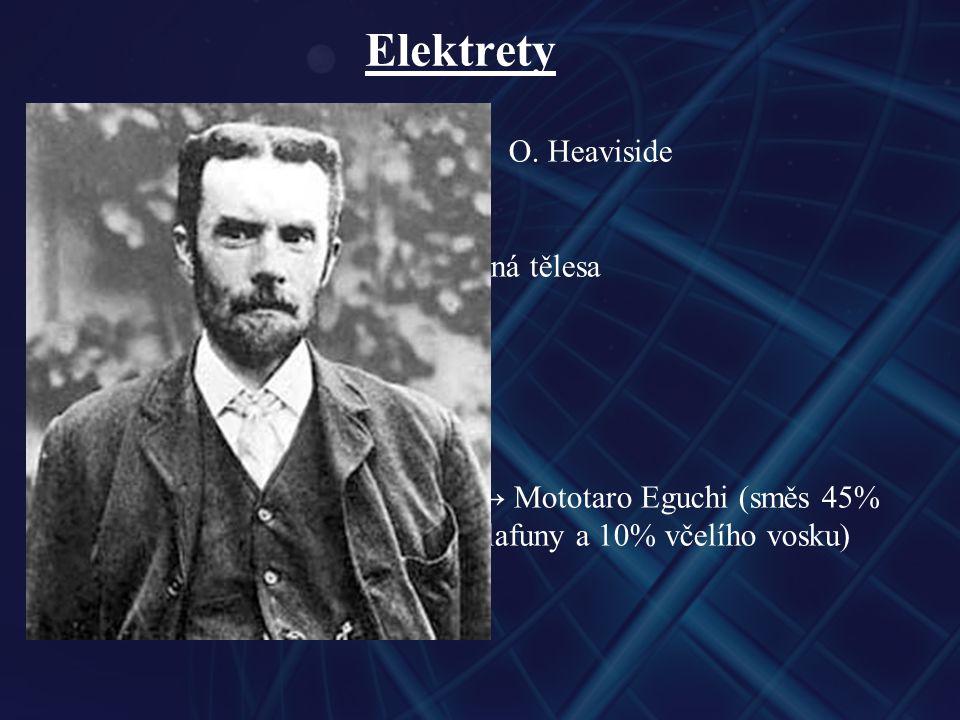 Elektrety - teoretická předpověď → 1896O. Heaviside - permanentně elektricky polarizovaná tělesa - obdoba permanentních magnetů - první uměle připrave