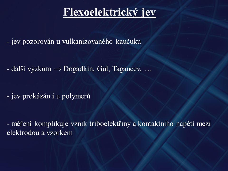 Flexoelektrický jev - jev pozorován u vulkanizovaného kaučuku - další výzkum → Dogadkin, Gul, Tagancev, … - jev prokázán i u polymerů - měření komplikuje vznik triboelektřiny a kontaktního napětí mezi elektrodou a vzorkem