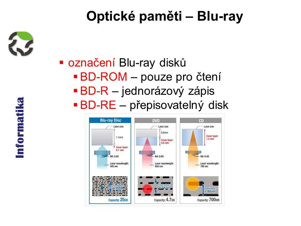 Informatika Optické paměti – Blu-ray  označení Blu-ray disků  BD-ROM – pouze pro čtení  BD-R – jednorázový zápis  BD-RE – přepisovatelný disk