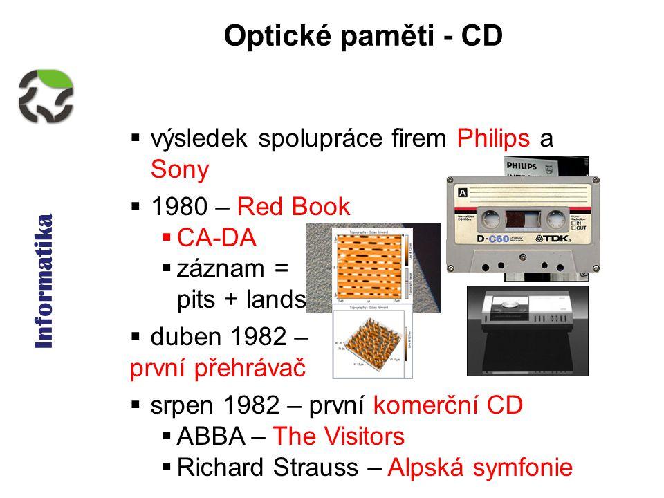 Informatika Optické paměti - CD  výsledek spolupráce firem Philips a Sony  1980 – Red Book  CA-DA  záznam = pits + lands  duben 1982 – první přehrávač  srpen 1982 – první komerční CD  ABBA – The Visitors  Richard Strauss – Alpská symfonie
