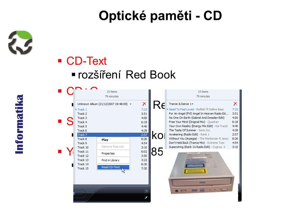 Informatika Optické paměti - CD  CD-Text  rozšíření Red Book  CD+G  další rozšíření Red Book  SACD  vyšší zvukový komfort  Yellow Book - 1985  CD-ROM