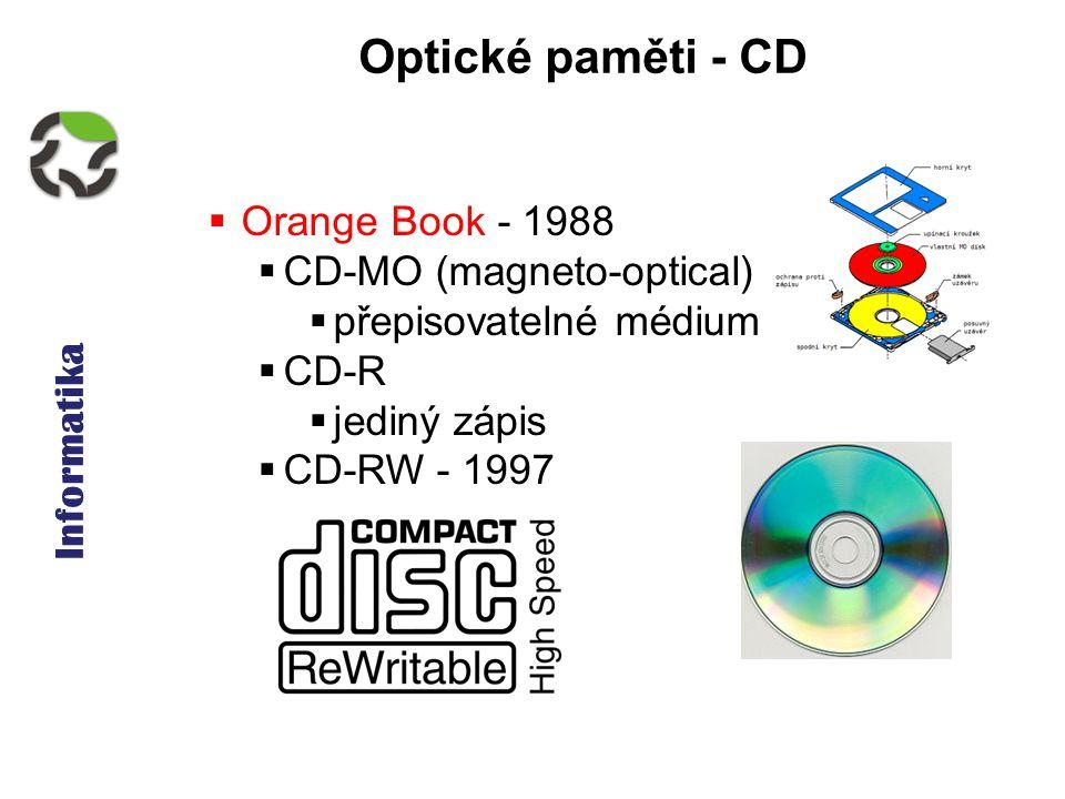 Informatika Optické paměti - CD  Orange Book - 1988  CD-MO (magneto-optical)  přepisovatelné médium  CD-R  jediný zápis  CD-RW - 1997