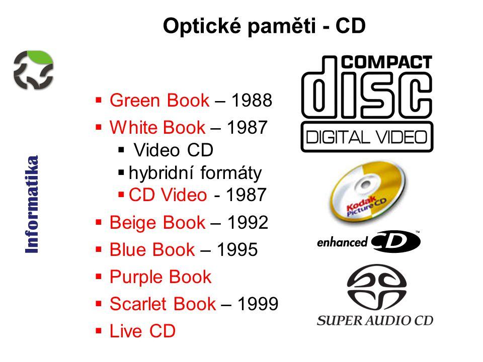 Informatika Optické paměti - CD  Green Book – 1988  White Book – 1987  Video CD  hybridní formáty  CD Video - 1987  Beige Book – 1992  Blue Book – 1995  Purple Book  Scarlet Book – 1999  Live CD