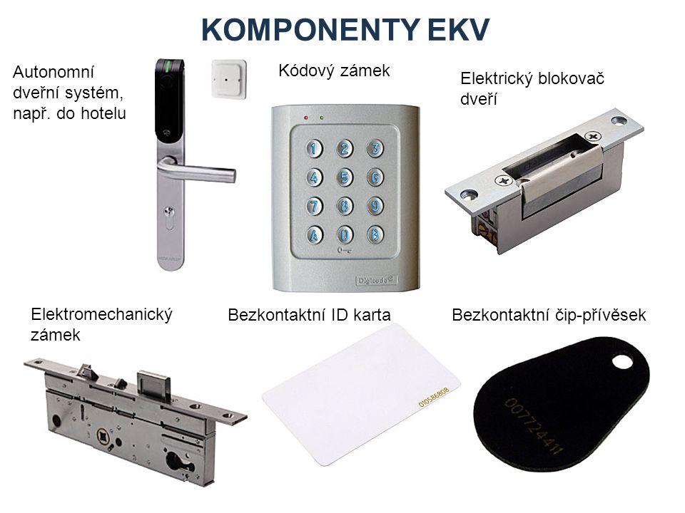 KOMPONENTY EKV Řídicí modul pro připojení dvou čteček na sběrnici systému EZS Bezkontaktní čtečka do EZS Klávesnice EZS se čtečkou