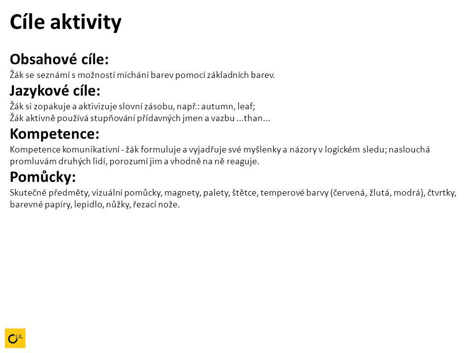 Cíle aktivity Obsahové cíle: Žák se seznámí s možností míchání barev pomocí základních barev. Jazykové cíle: Žák si zopakuje a aktivizuje slovní zásob