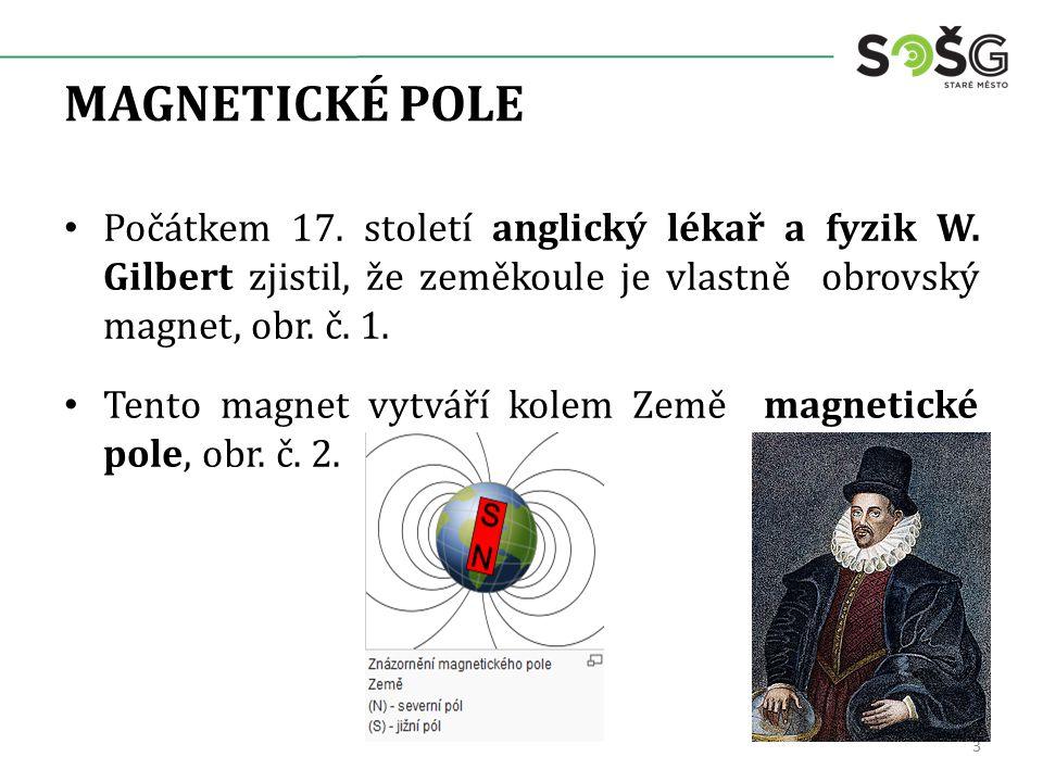MAGNETICKÉ POLE Počátkem 17. století anglický lékař a fyzik W. Gilbert zjistil, že zeměkoule je vlastně obrovský magnet, obr. č. 1. Tento magnet vytvá