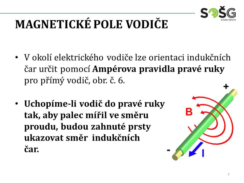 MAGNETICKÉ POLE VODIČE V okolí elektrického vodiče lze orientaci indukčních čar určit pomocí Ampérova pravidla pravé ruky pro přímý vodič, obr. č. 6.