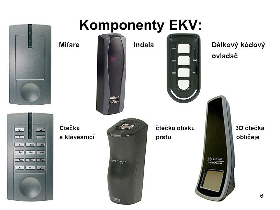 Komponenty EKV: Mifare IndalaDálkový kódový ovladač Čtečkačtečka otisku 3D čtečka s klávesnicíprstu obličeje 6