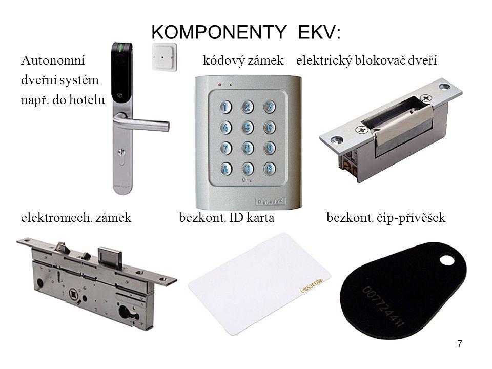 KOMPONENTY EKV: Autonomní kódový zámek elektrický blokovač dveří dveřní systém např. do hotelu elektromech. zámek bezkont. ID karta bezkont. čip-přívě
