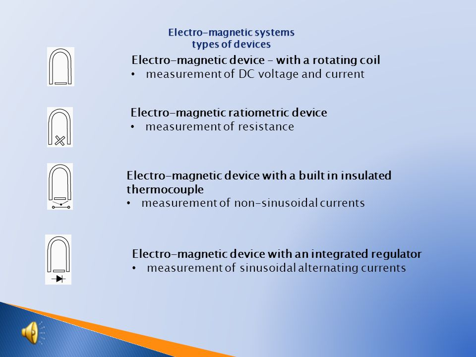  Properties: ◦ Measure the DC voltage and current, ◦ The scale is linear, ◦ Magnetic damping (eddy currents in an aluminum roller) ◦ High accuracy (0,1 and 0,2%), ◦ Low self consumption (8 - 3 W), ◦ Sensitivity of the gross mechanical and electrical usage, ◦ Strong influence of temperature  Application: ◦ DC voltmeters and ammeters and indirectly for the measurement of other variables.