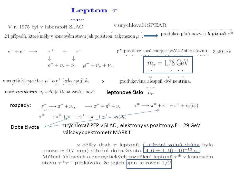 ⟹ leptonové číslo rozpady: Doba života urychlovač PEP v SLAC, elektrony vs pozitrony, E = 29 GeV válcový spektrometr MARK II
