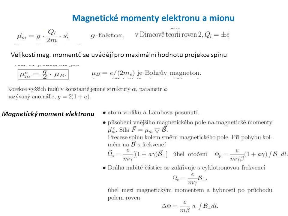 Magnetické momenty elektronu a mionu Velikosti mag. momentů se uvádějí pro maximální hodnotu projekce spinu Magnetický moment elektronu