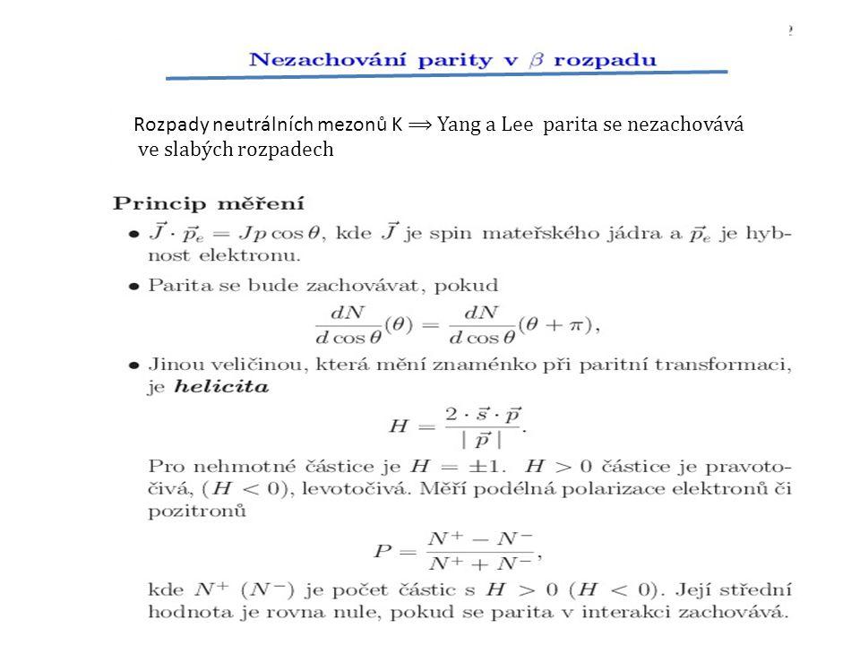 r Rozpady neutrálních mezonů K ⟹ Yang a Lee parita se nezachovává ve slabých rozpadech