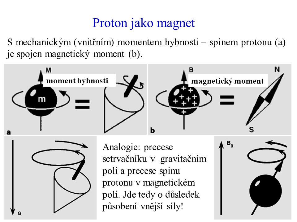 Proton jako magnet S mechanickým (vnitřním) momentem hybnosti – spinem protonu (a) je spojen magnetický moment (b). moment hybnosti magnetický moment
