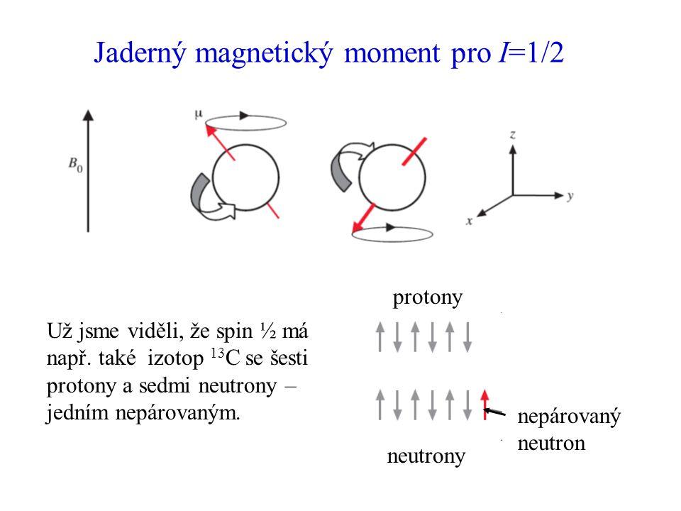 Jaderný magnetický moment pro I=1/2 Už jsme viděli, že spin ½ má např. také izotop 13 C se šesti protony a sedmi neutrony – jedním nepárovaným. proton