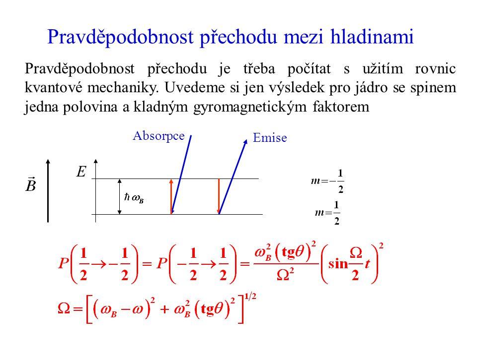 Pravděpodobnost přechodu mezi hladinami Pravděpodobnost přechodu je třeba počítat s užitím rovnic kvantové mechaniky. Uvedeme si jen výsledek pro jádr