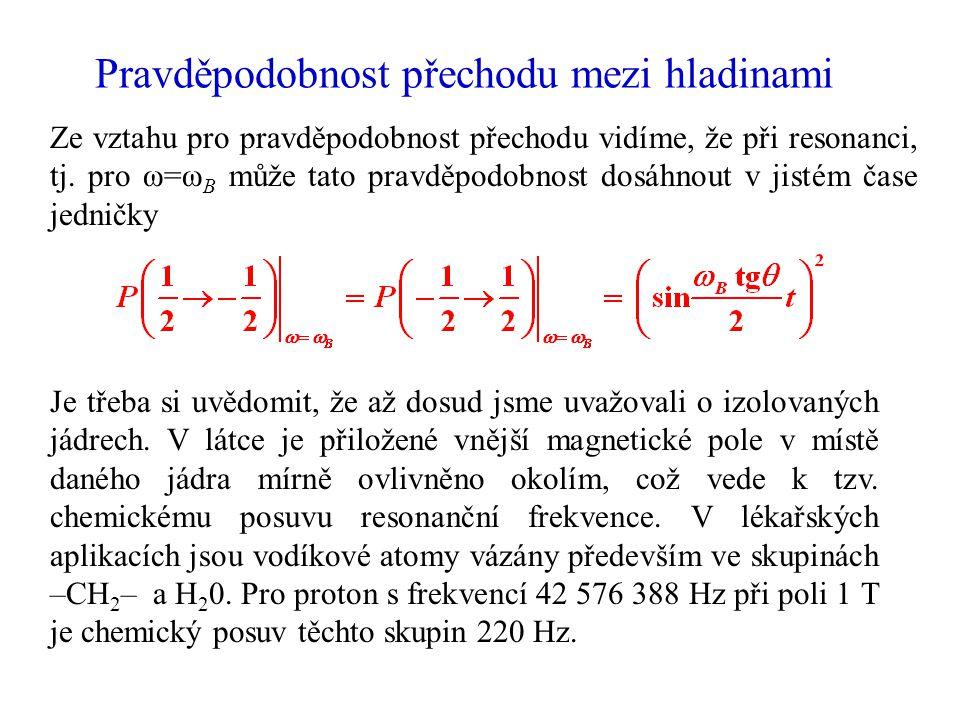 Pravděpodobnost přechodu mezi hladinami Ze vztahu pro pravděpodobnost přechodu vidíme, že při resonanci, tj. pro ω=ω B může tato pravděpodobnost dosáh