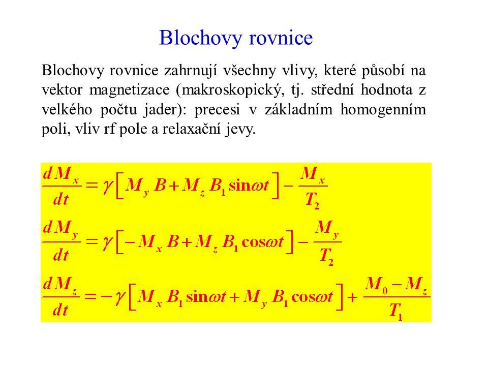 Blochovy rovnice Blochovy rovnice zahrnují všechny vlivy, které působí na vektor magnetizace (makroskopický, tj. střední hodnota z velkého počtu jader