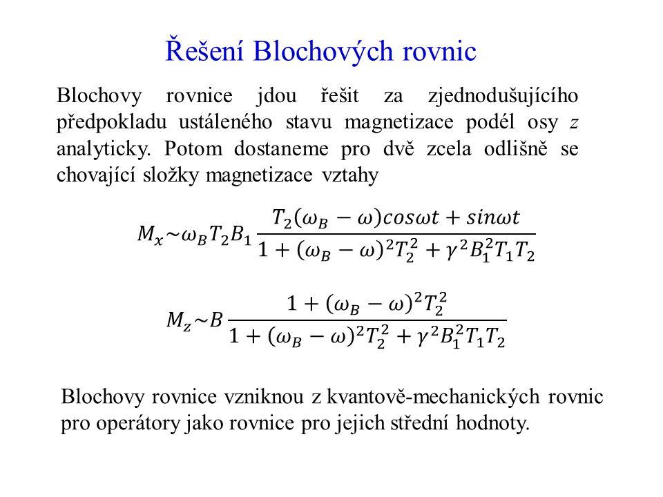Řešení Blochových rovnic Blochovy rovnice jdou řešit za zjednodušujícího předpokladu ustáleného stavu magnetizace podél osy z analyticky. Potom dostan