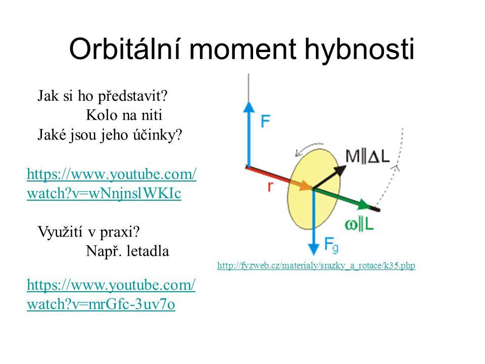 Orbitální moment hybnosti Jak si ho představit? Kolo na niti Jaké jsou jeho účinky? Využití v praxi? Např. letadla http://fyzweb.cz/materialy/srazky_a