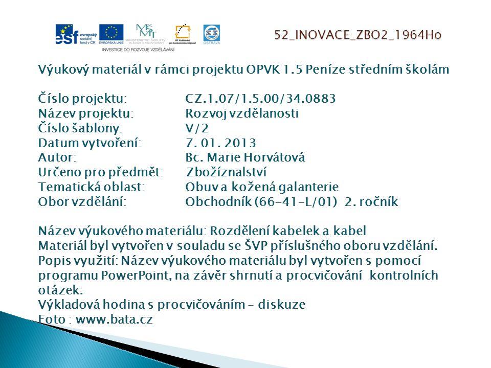 52_INOVACE_ZBO2_1964Ho Výukový materiál v rámci projektu OPVK 1.5 Peníze středním školám Číslo projektu:CZ.1.07/1.5.00/34.0883 Název projektu:Rozvoj vzdělanosti Číslo šablony: V/2 Datum vytvoření:7.
