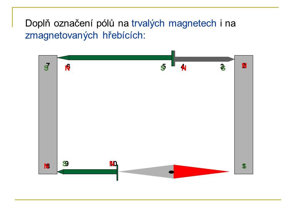 Doplň označení pólů na trvalých magnetech i na zmagnetovaných hřebících: 8 7 6543 2 1 109 NS N S S S S N N N