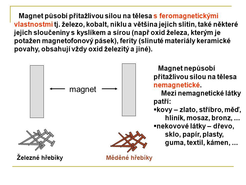 Rozdělení látek (podle toho, jak na ně působí magnet): Železo dřevo látky s feromagnetickými vlastnostmi (železo, kobalt, nikl...) látky nemagnetické (zlato, stříbro, měď, dřevo, sklo, papír...) Která tělesa budou magnetem přitahována.