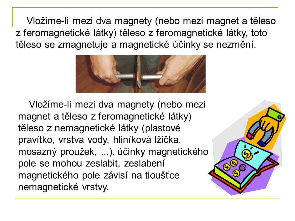 Vložíme-li mezi dva magnety (nebo mezi magnet a těleso z feromagnetické látky) těleso z feromagnetické látky, toto těleso se zmagnetuje a magnetické účinky se nezmění.
