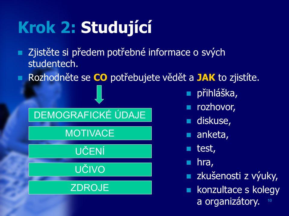 9 Krok 1: Cíle Sdělte studujícím, CO budou po ukončení vzdělávací aktivity znát a umět.