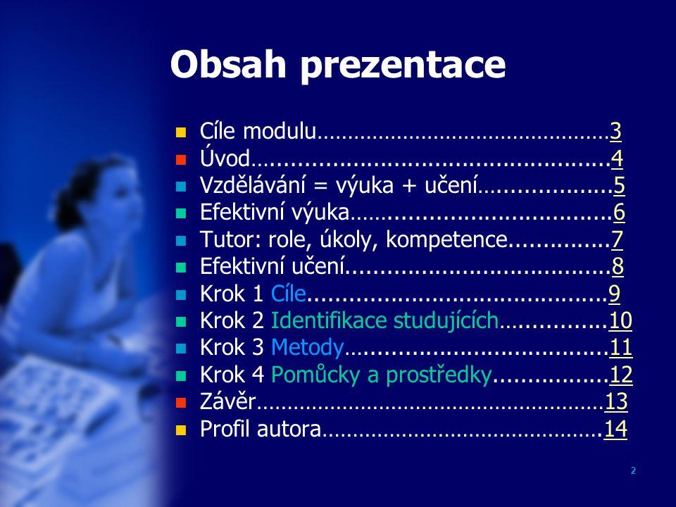 1 Úvod do modulu: Distanční výuka a učení Monika Všetulová Olomouc 2006 akademie distančního vzdělávání
