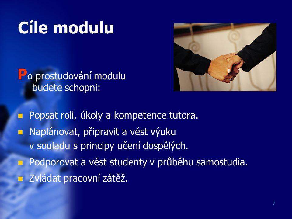 2 Obsah prezentace Cíle modulu…………………………………………33 Úvod…..................................................44 Vzdělávání = výuka + učení….................55 Efektivní výuka…….................................66 Tutor: role, úkoly, kompetence...............77 Efektivní učení.......................................88 Krok 1 Cíle............................................99 Krok 2 Identifikace studujících….............1010 Krok 3 Metody…....................................1111 Krok 4 Pomůcky a prostředky.................1212 Závěr…………………………………………………1313 Profil autora……………………………………….1414