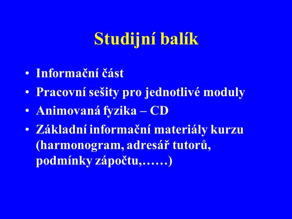 Studijní balík Informační část Pracovní sešity pro jednotlivé moduly Animovaná fyzika – CD Základní informační materiály kurzu (harmonogram, adresář tutorů, podmínky zápočtu,……)