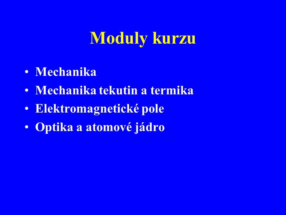 Moduly kurzu Mechanika Mechanika tekutin a termika Elektromagnetické pole Optika a atomové jádro