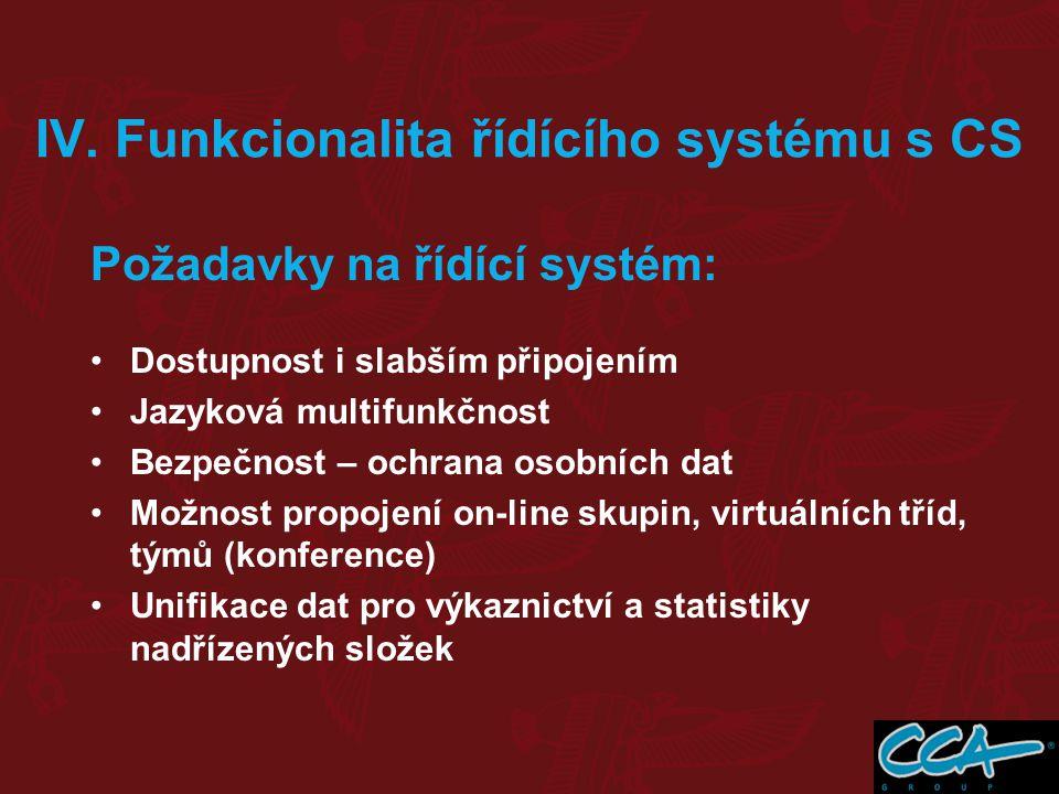 IV. Funkcionalita řídícího systému s CS Požadavky na řídící systém: Dostupnost i slabším připojením Jazyková multifunkčnost Bezpečnost – ochrana osobn