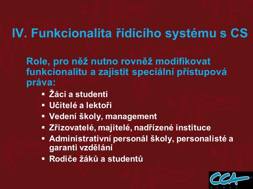 IV. Funkcionalita řídícího systému s CS Role, pro něž nutno rovněž modifikovat funkcionalitu a zajistit speciální přístupová práva:  Žáci a studenti