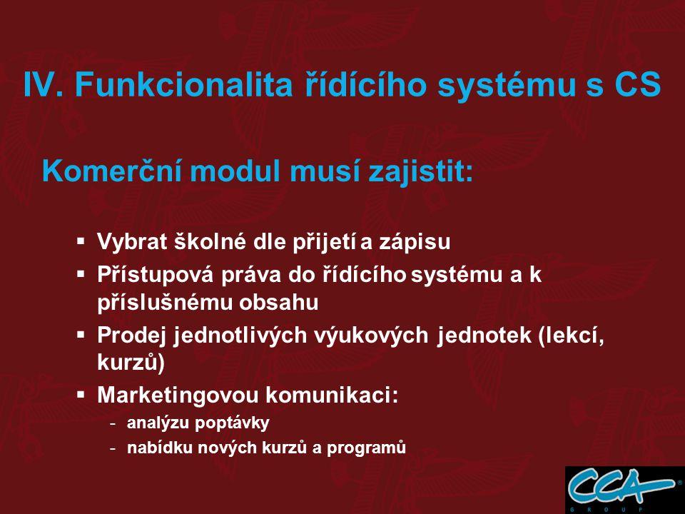 IV. Funkcionalita řídícího systému s CS Komerční modul musí zajistit:  Vybrat školné dle přijetí a zápisu  Přístupová práva do řídícího systému a k