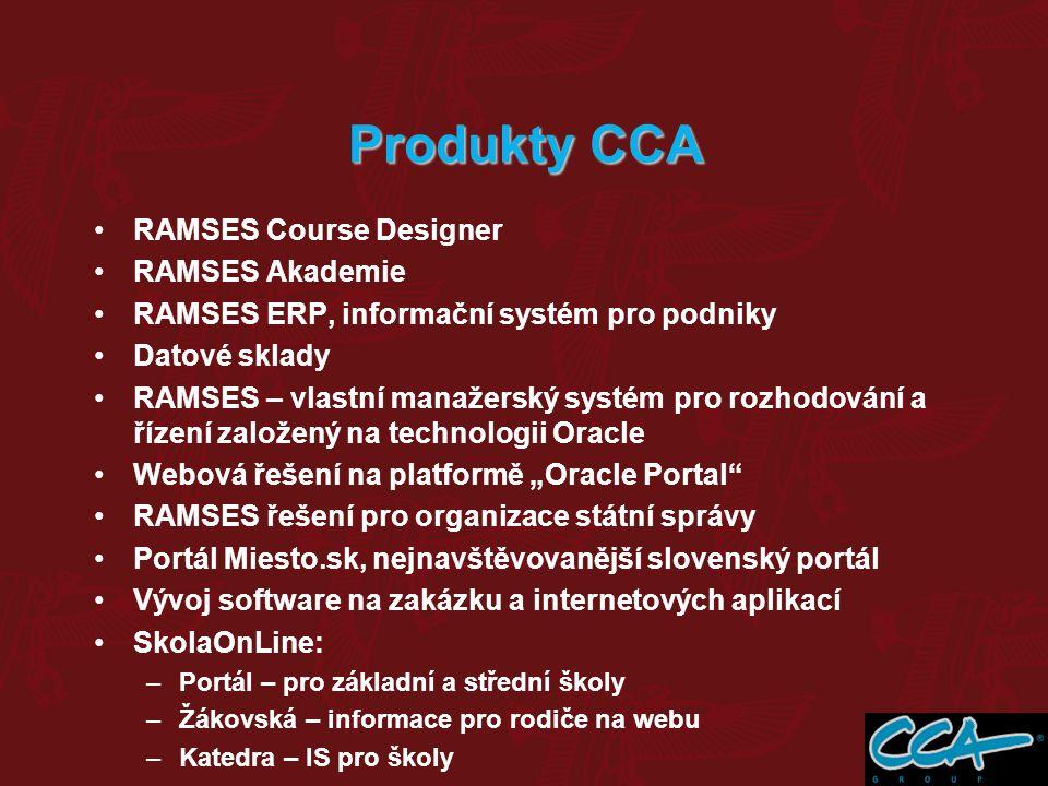 RAMSES Course Designer RAMSES Akademie RAMSES ERP, informační systém pro podniky Datové sklady RAMSES – vlastní manažerský systém pro rozhodování a ří