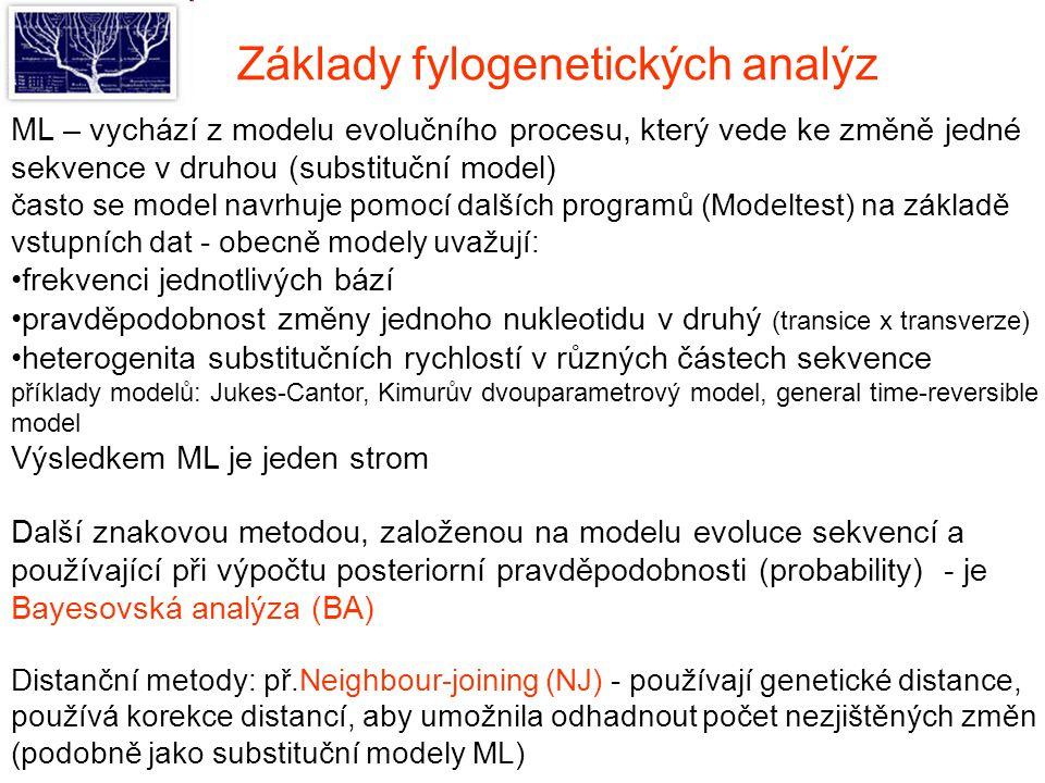 ML – vychází z modelu evolučního procesu, který vede ke změně jedné sekvence v druhou (substituční model) často se model navrhuje pomocí dalších programů (Modeltest) na základě vstupních dat - obecně modely uvažují: frekvenci jednotlivých bází pravděpodobnost změny jednoho nukleotidu v druhý (transice x transverze) heterogenita substitučních rychlostí v různých částech sekvence příklady modelů: Jukes-Cantor, Kimurův dvouparametrový model, general time-reversible model Výsledkem ML je jeden strom Další znakovou metodou, založenou na modelu evoluce sekvencí a používající při výpočtu posteriorní pravděpodobnosti (probability) - je Bayesovská analýza (BA) Distanční metody: př.Neighbour-joining (NJ) - používají genetické distance, používá korekce distancí, aby umožnila odhadnout počet nezjištěných změn (podobně jako substituční modely ML) Základy fylogenetických analýz