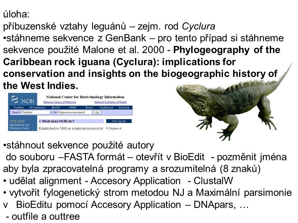 úloha: příbuzenské vztahy leguánů – zejm. rod Cyclura stáhneme sekvence z GenBank – pro tento případ si stáhneme sekvence použité Malone et al. 2000 -