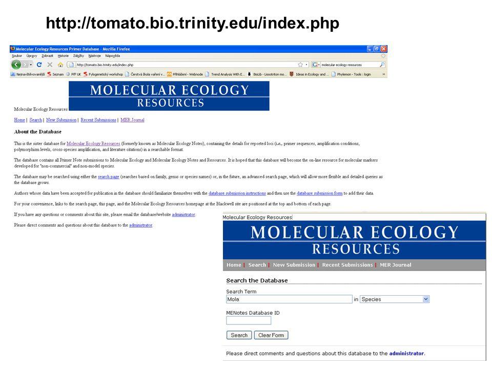 NCBI http://www.ncbi.nlm.nih.gov/ celé sekvence mikrosatelitových lokusů Příklad: NCBI Search - Loxia microsatellite Existují i specializované databáze: MGI - http://www.informatics.jax.org/ příklad DXMit5 (microsatelit na Chr X) Ark - http://www.thearkdb.org/ příklad mikrosatelity na Chr Y prasete