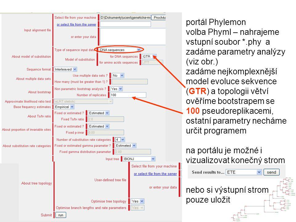 portál Phylemon volba Phyml – nahrajeme vstupní soubor *.phy a zadáme parametry analýzy (viz obr.) zadáme nejkomplexnější model evoluce sekvence (GTR) a topologii větví ověříme bootstrapem se 100 pseudoreplikacemi, ostatní parametry necháme určit programem na portálu je možné i vizualizovat konečný strom nebo si výstupní strom pouze uložit